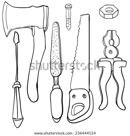 Hardware Tool Set - stock vector