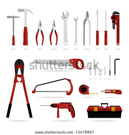 Hardware Tool Set Vector - stock vector