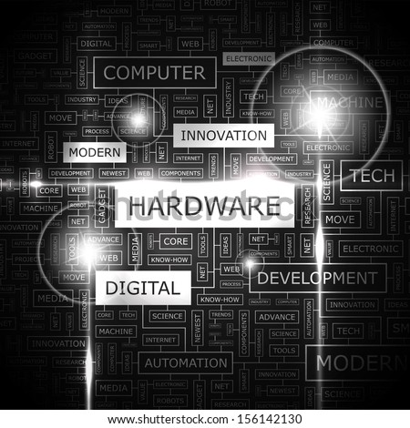 HARDWARE. Word cloud concept illustration. Graphic tag collection. Wordcloud collage with related tags and terms.  - stock vector