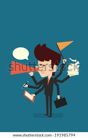 hardworking businessman, vector