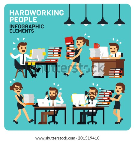 Hardworking People Infographic Elements  - stock vector