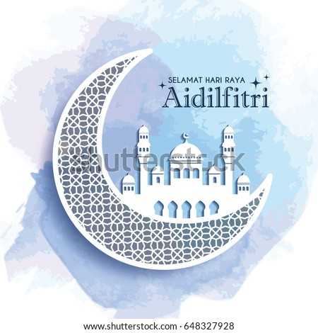 Hari raya aidilfitri stock images royalty free images vectors hari raya aidilfitri greeting card template design decorative crescent moon and mosque on blue watercolor stopboris Choice Image