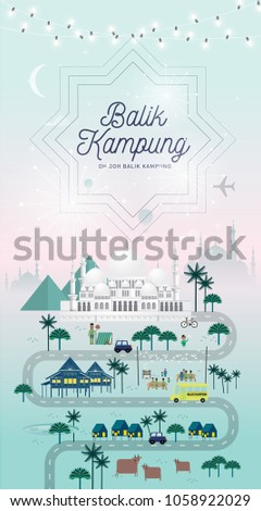 Hari raya balik kampung greetings template stock vector hd royalty hari raya balik kampung greetings template with malay words that mean going home m4hsunfo