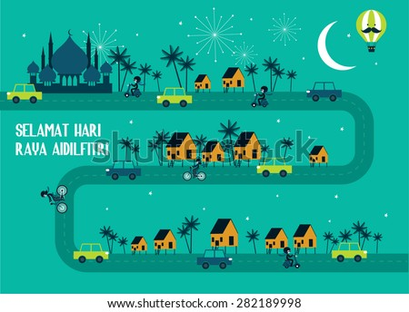 hari raya/ balik kampung template vector/ illustration balik kampung is a malay word that translates to 'going home/ hometown' - stock vector