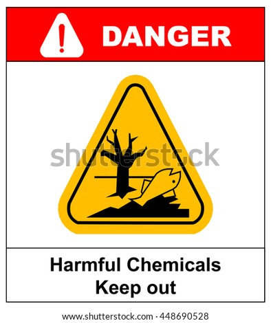 harmful chemicals keep out hazardous to aquatic environment , hazard warning danger banner , isolated vector illustration - stock vector