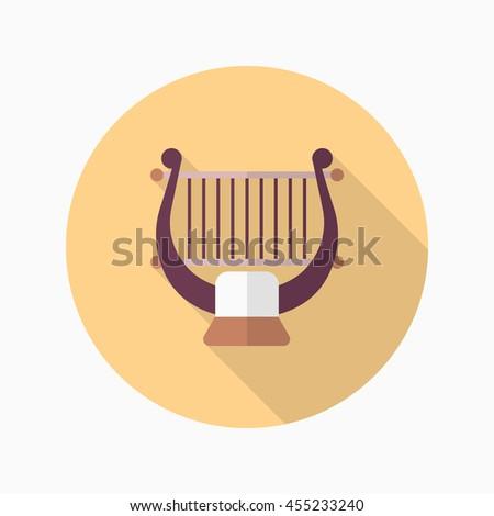Harp icon , Vector flat long shadow design. - stock vector