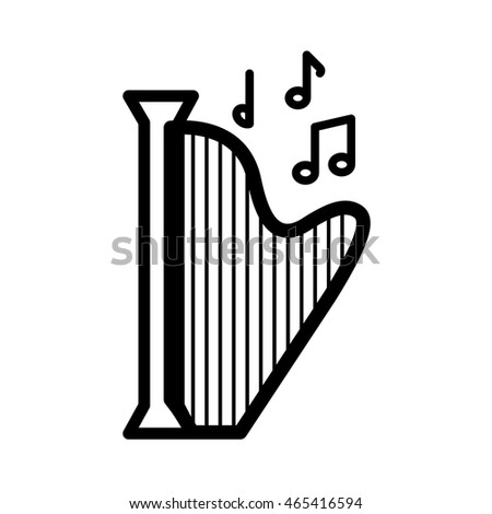 harp music note melody sound icon. Isolated and flat illustration. Vector graphic