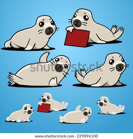 harp seal - stock vector