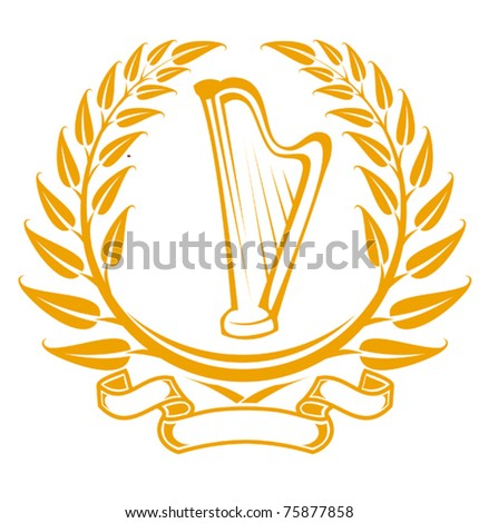 Harp symbol in laurel wreath isolated on white. Jpeg version also available in gallery - stock vector