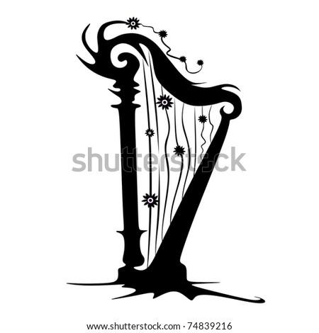 harp vector - stock vector