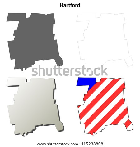 Hartford County, Connecticut blank outline map set