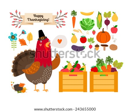 Harvest clip art. Vector fruits and vegetables for Thanksgiving and menu. Rooster with the harvest. With love - stock vector
