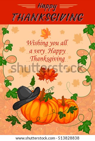 Harvest festival Happy Thanksgiving Day holiday celebration. Vector illustration