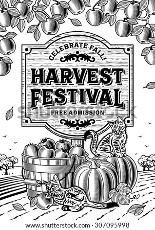 Harvest Festival Poster Black And White. Editable vector illustration with clipping mask. - stock vector