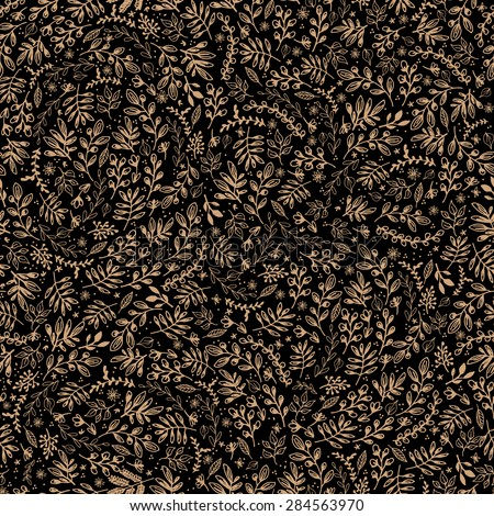 Harvest Flowers | Vector illustration of a seamless black and gold floral pattern. - stock vector