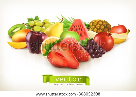 Harvest juicy fruit and berries, vector illustration isolated on white - stock vector
