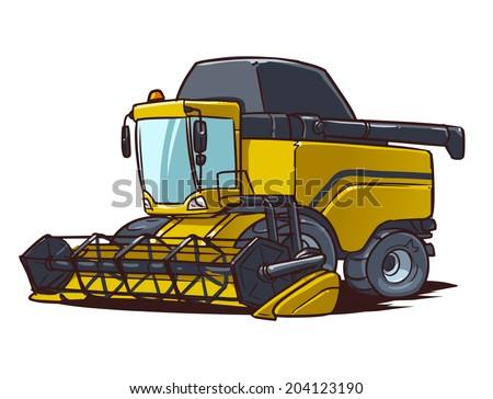 harvester combine cartoon illustration - stock vector