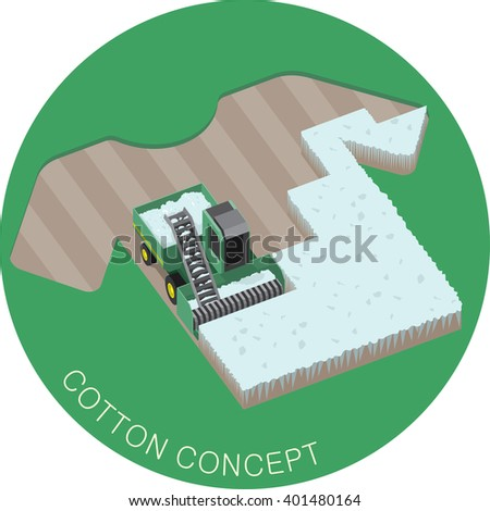 Harvester machine working in the cotton field. T-shirt original design. Cotton cultivation and processing. Agriculture and textile industry concept. Vector illustration, isometric style - stock vector