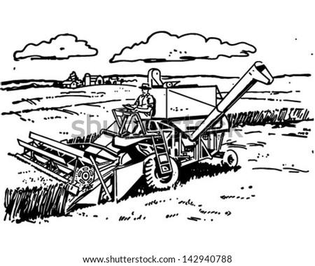 Harvester - Retro Clip Art Illustration - stock vector