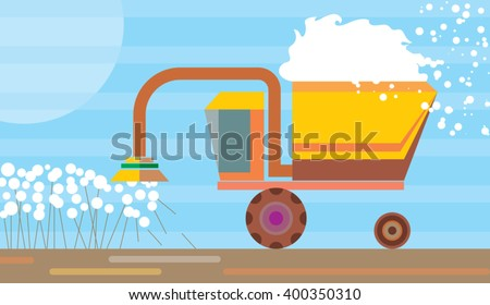 Harvesting machine working in a cotton field. Machine cotton harvesting. Textile production industry. Vector illustration - stock vector