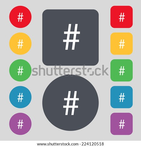 hash tag icon. Set colourful buttons sign. Vector illustration - stock vector