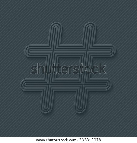 Hash tag outline symbol. Vector EPS10. - stock vector