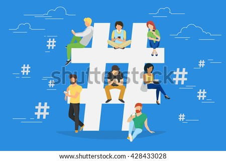 Hashtag concept illustration of young people using mobile tablet pc and smartphone for sending posts and sharing them in social media. Flat big hashtag symbol design with guys and women