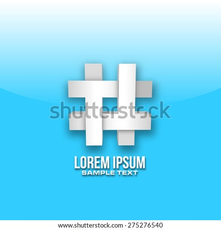 hashtag icon design 3d in vector format - stock vector