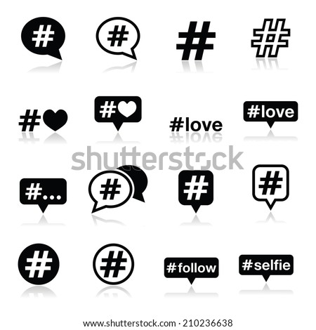 Hashtag, social media icons set  - stock vector