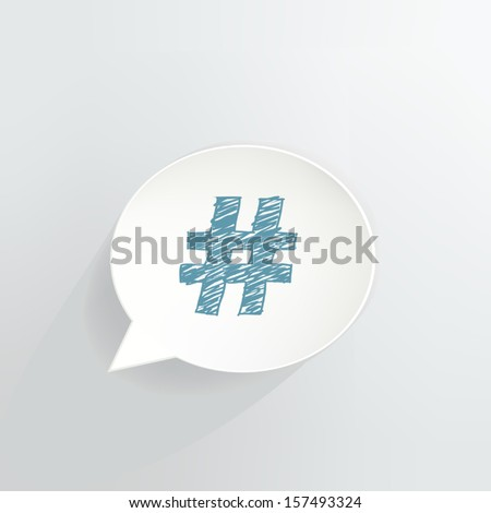 Hashtag Speech Bubble Icon - stock vector