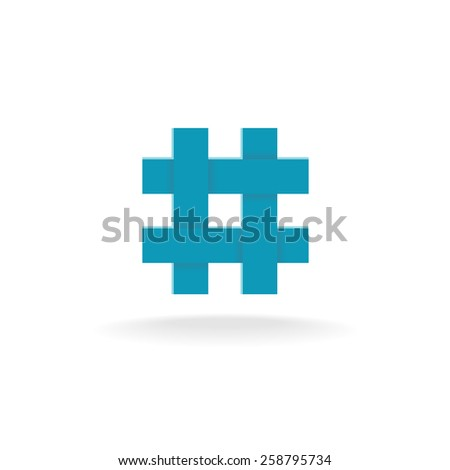 Hashtag symbol. Four crossing overlapped lines. - stock vector