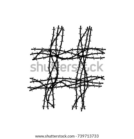 Hashtag Symbol Made Barbed Wire Concept Stock Vector HD (Royalty ...