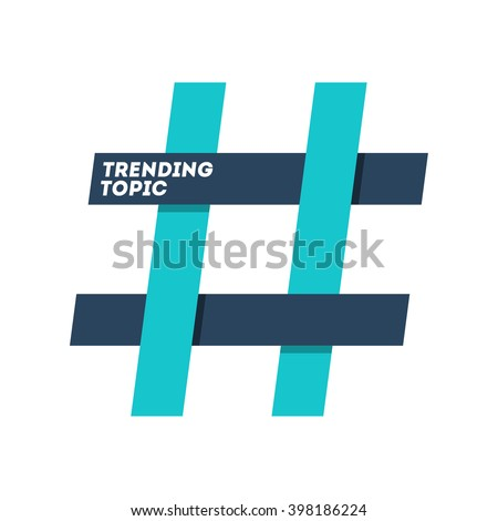 hashtag trending topic sign isolated in white background - stock vector
