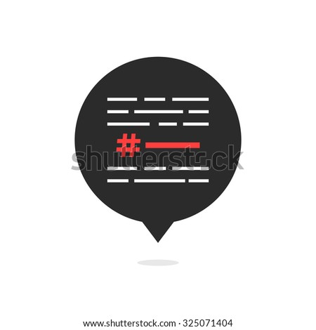 hashtag with simple text in black bubble. concept of micro blogging, pr, popularity, blogger, relevant. isolated on white background. flat style trend modern logotype design vector illustration - stock vector