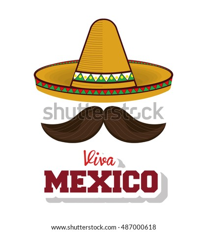 hat and moustache mexican symbol viva mexico