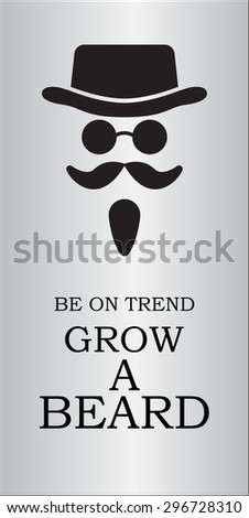 hat, beard, mustaches, round glasses  - stock vector