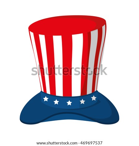 hat celebration america usa fourth july day national patriot vector  illustration isolated