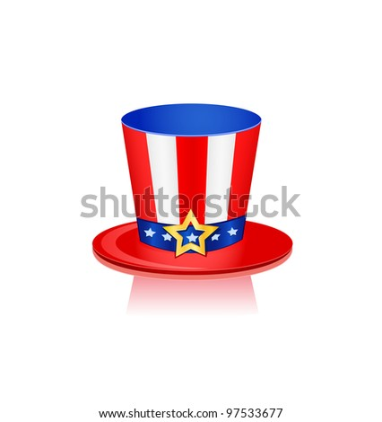 Hat in American Flag Colors. Vector Isolated Icon on 4th July - stock vector