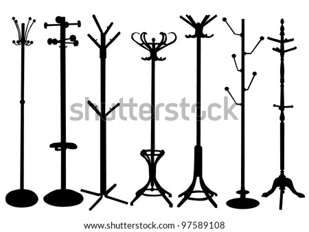 Hat Stand silhouette set - stock vector