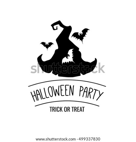 Hat witch silhouette bat halloween party stock vector 499337830 hat witch the silhouette of a bat halloween party badge the invitation sample stopboris Choice Image