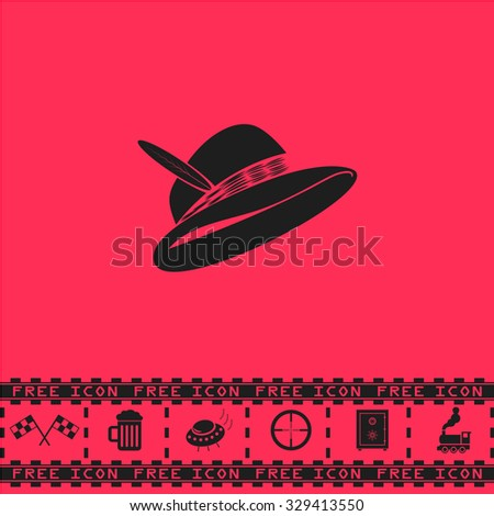 Hat with a feather. Black flat vector icon and bonus symbol - Racing flag, Beer mug, Ufo fly, Sniper sight, Safe, Train on pink background - stock vector