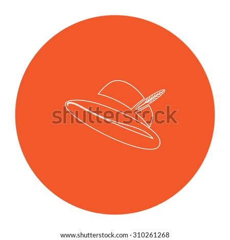 Hat with a feather. Flat outline white pictogram in the orange circle. Vector illustration icon - stock vector