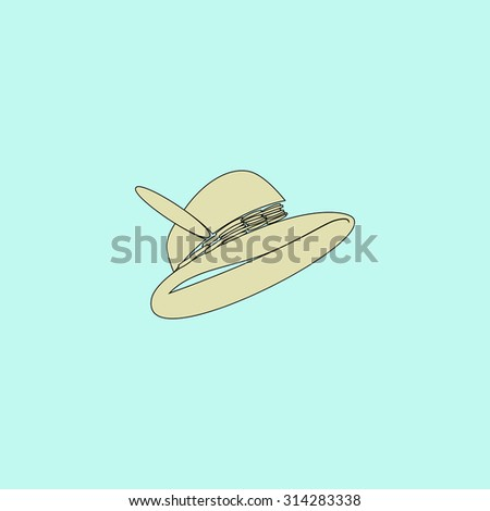 Hat with a feather. Flat simple line icon. Retro color modern vector illustration pictogram. Collection concept symbol for infographic, logo and project - stock vector