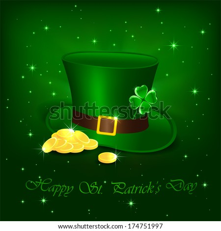 Hat with clover and leprechauns gold on green background, illustration.
