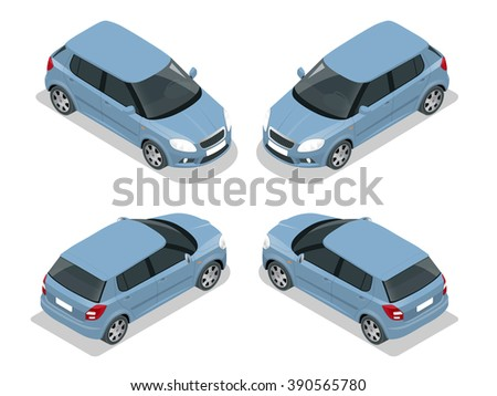 Hatchback car, Car Flat, Car isometric, Car high quality city transport, Car icon set, Car Vector, Car illustration, Hatchback Car Icon,  Car Icon Vector, Car isolated, Car automobile Car Icon Drawing - stock vector