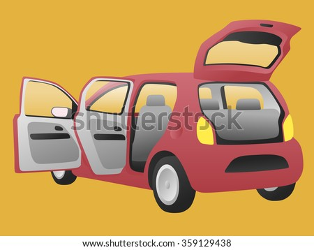 hatchback car that open doors and rear hatch, vector illustration - stock vector