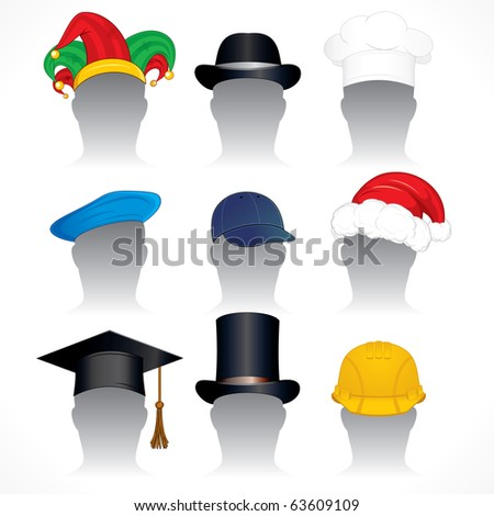 Hats and Caps clip art - collection of detailed vector illustrations of various headdress - inc santa hat, mortar board, jester hat, hardhat, chef hat etc - stock vector