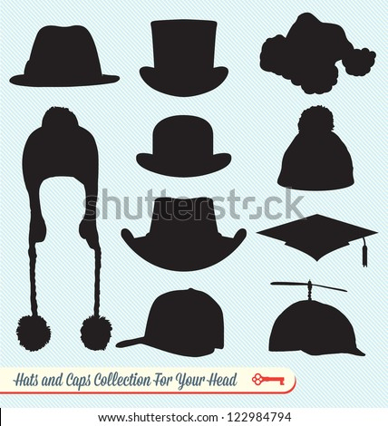 Hats and Caps Silhouette Collection - stock vector
