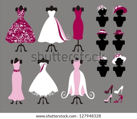 hats , dresses and shoes - stock vector