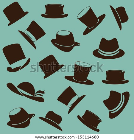 hats icons over blue background vector illustration - stock vector